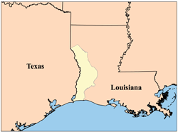 disputed area between Spanish Texas and the Louisiana Purchase