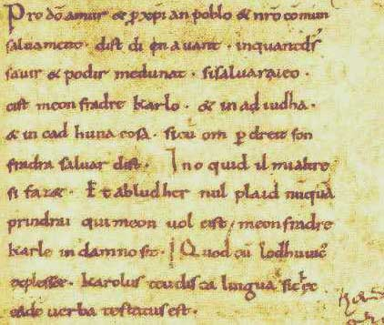 Parchment containing the beginning of the Oaths in Gallo-Romance. Sacramenta Argentariae (pars brevis).jpg