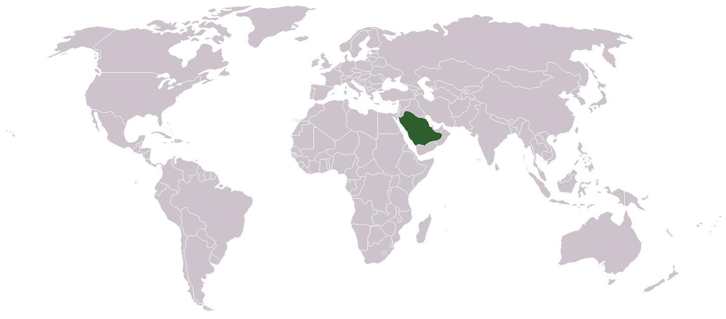 Saudi Arabia In World Map - Saudi arabia world map