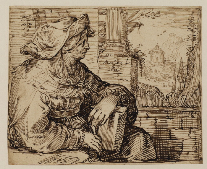 Sibyl seated among Classical ruins