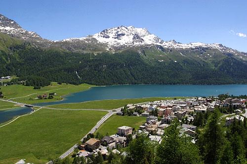 Jezioro Silvaplana i szczyt Corvatsch