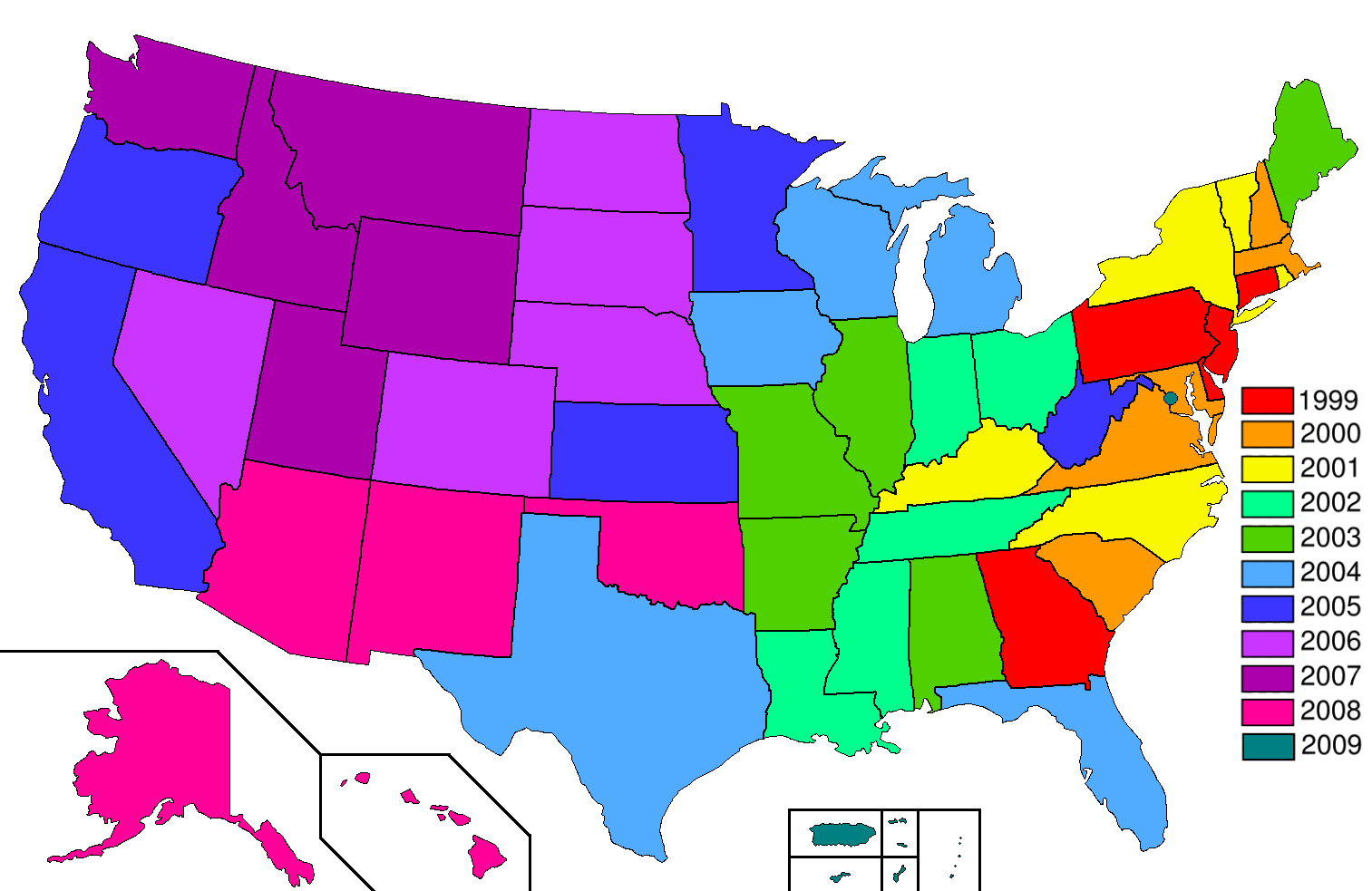 Datei:Statehood quarters map 2009.png – Wikipedia