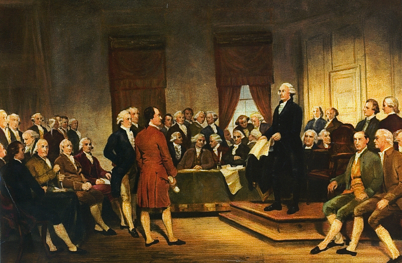 Washington at the Constitutional Convention. Painting by Junius Brutus Stearns, 1856