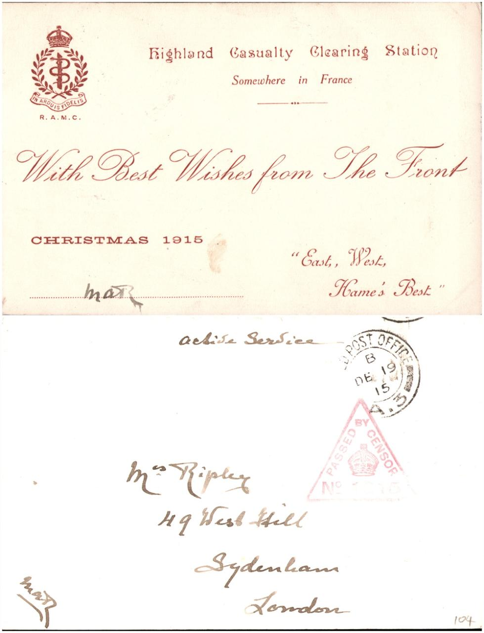 file with best wishes from the front christmas 1915 highland