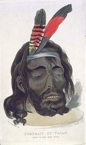"Portrait of Yagan by George Cruikshank. This portrait was painted from observations of Yagan's severed head, which had shrunk substantially during preservation by smoking. George Fletcher Moore said it bore little resemblance to the living Yagan, whose face was ""plump, with a burly-headed look about it"". Yagan.jpg"