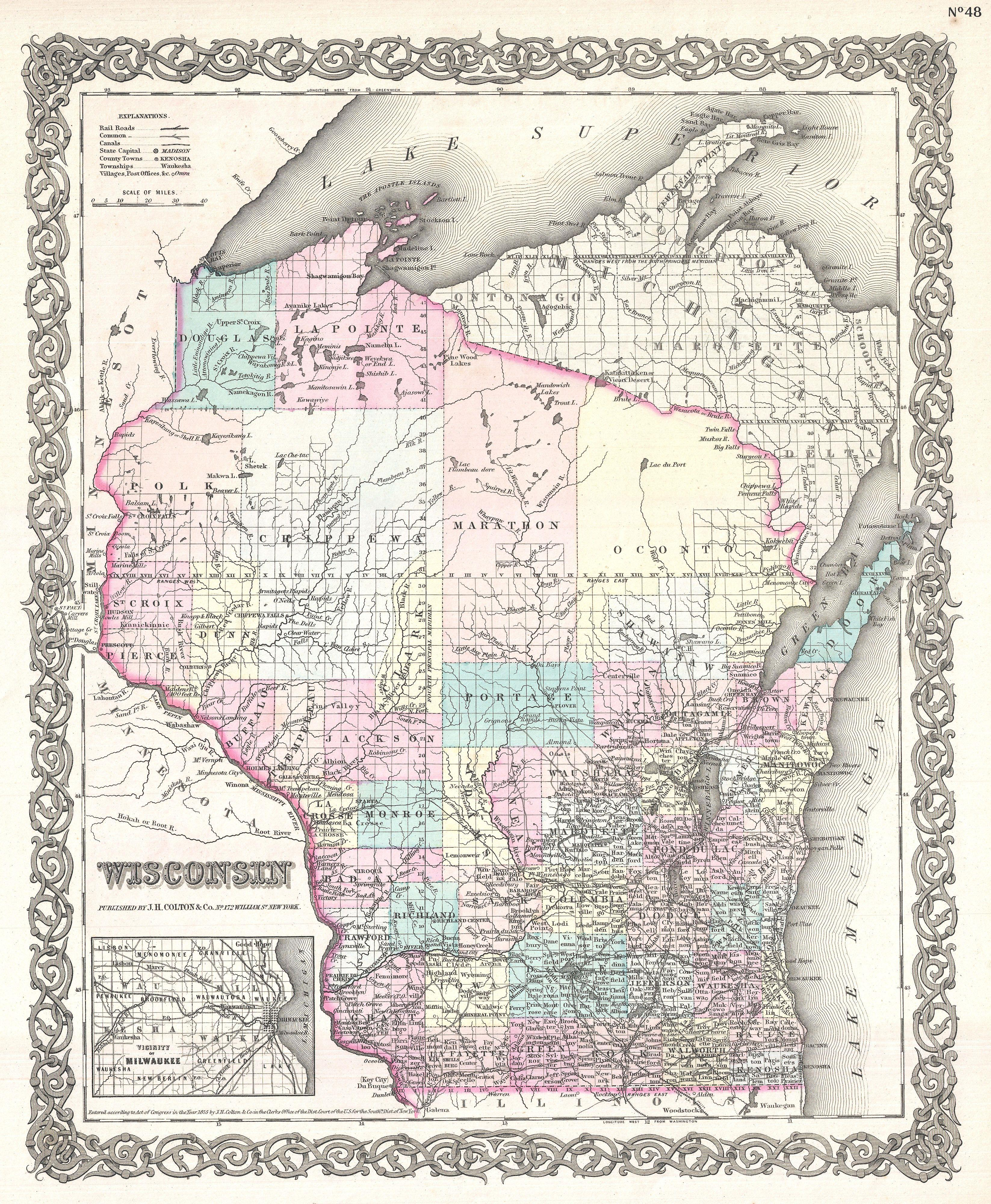 File Colton Map Of Wisconsin Geographicus Wisconsin - Maps of wisconsin