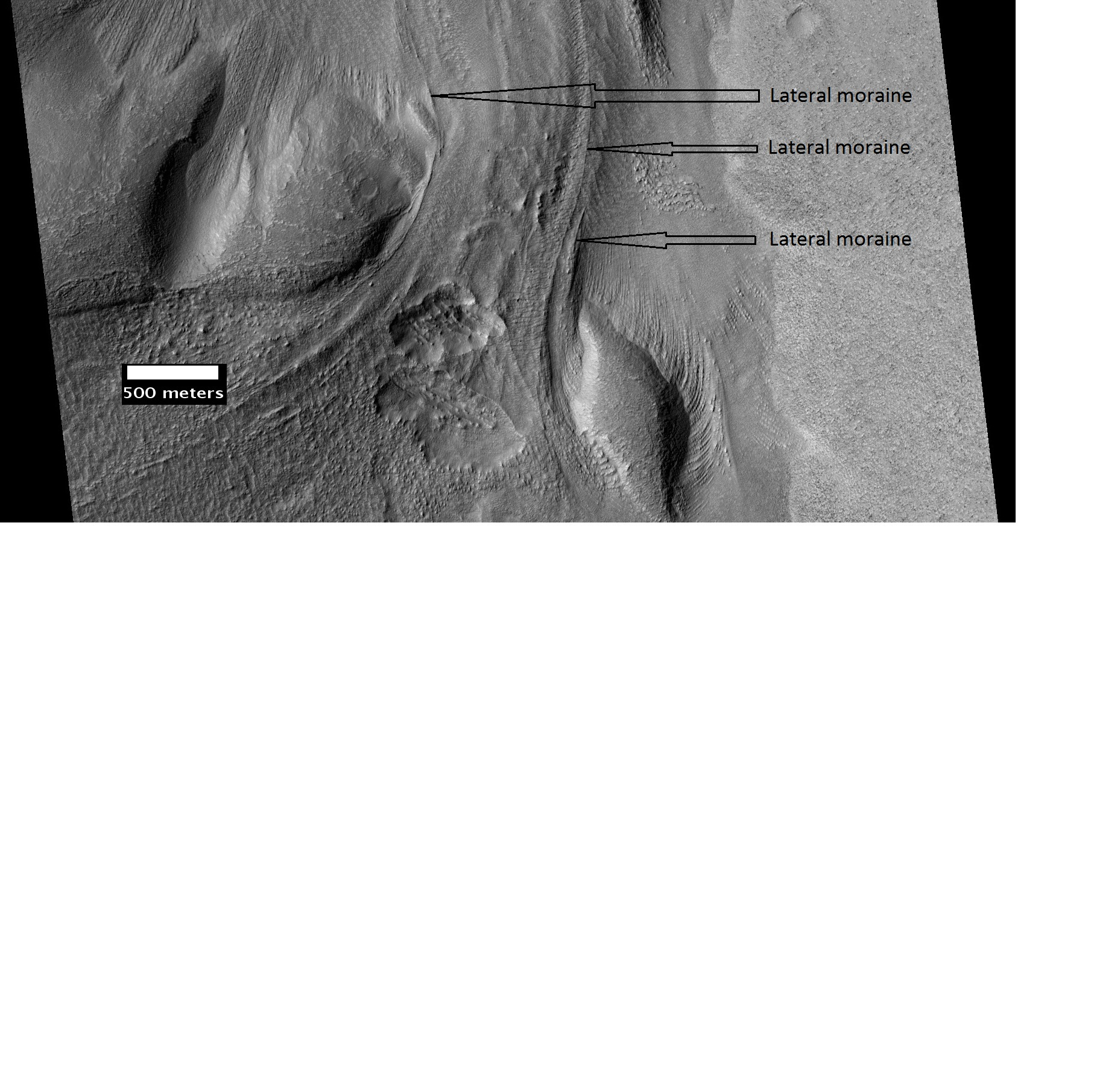 Material Flowing through a crater rim Lateral moraines are labeled.