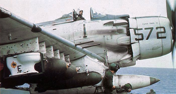 A-1H_Skyraider_of_VA-25_with_toilet_bomb_on_USS_Midway_%28CVA-41%29_in_October_1965_%28NNAM.1996.253.2381%29.jpg