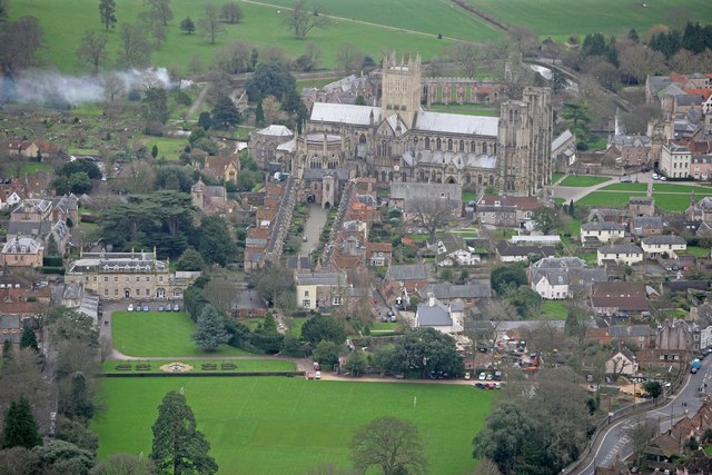 File Aerial View Of Wells Cathedral Geograph Org Uk