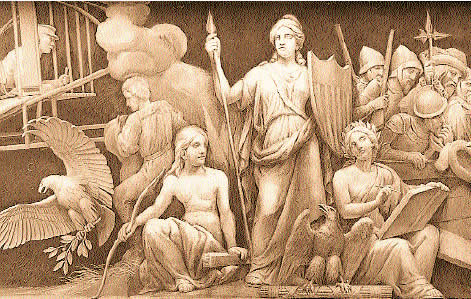 America and History, First Panel, U. S. Capitol Building Frieze