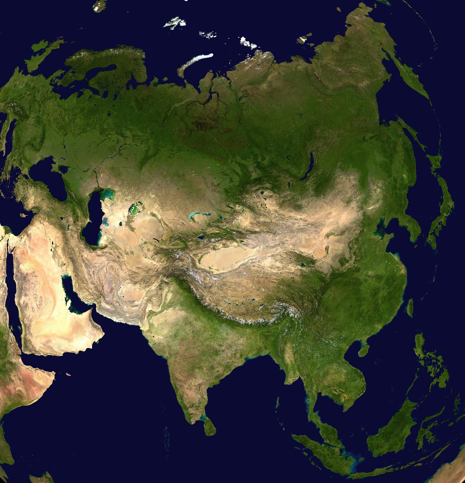 Asia satellite orthographicjpg Atlas of Asia