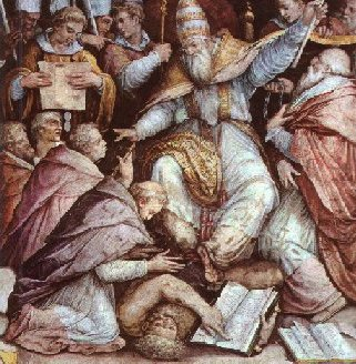 A depiction of Pope Gregory IX excommunicating B Gregor IX2.jpg