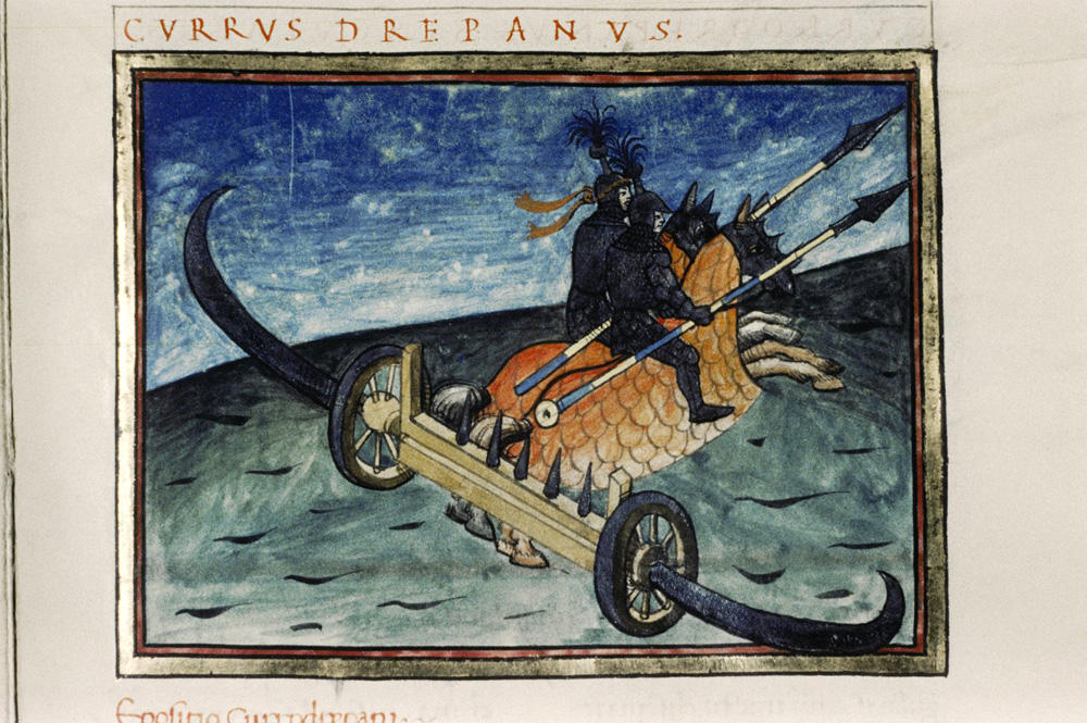 A currus drepanus [scythed chariot] as imagined in fifteenth-century Italy (Bodleian Library, Oxford, MS. Canon. Misc. 378, fol. 073r) and reproduced on Wikipedia Commons https://en.wikipedia.org/wiki/File:Bodl_Canon.Misc.378_roll159B_frame8.jpg