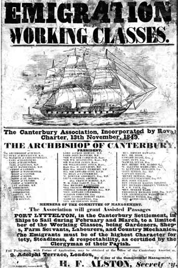 An 1850 Canterbury Association poster aimed at working-class people Canterbury Association poster.jpg