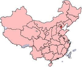 Tianjin is highlighted on this map