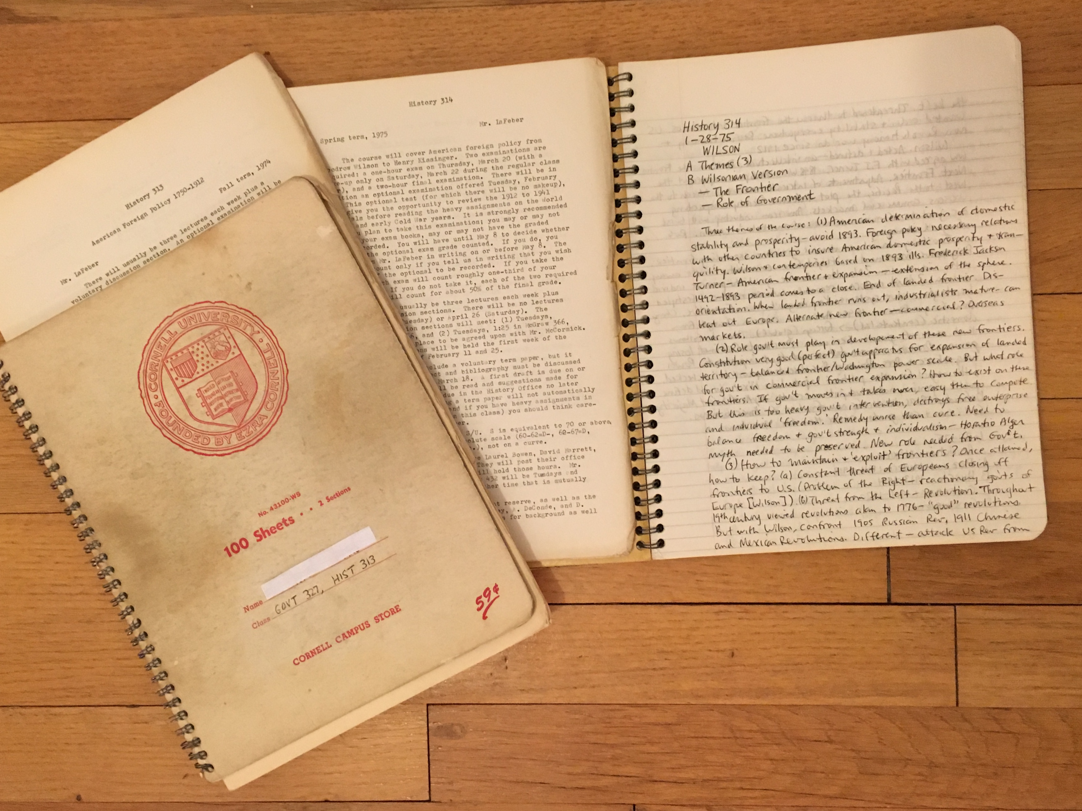 File:Cornell University notebooks for History 313 and 314