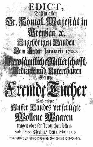 Königliches Verbot, im Ausland hergestellte Textilien zu tragen, Berlin 1719
