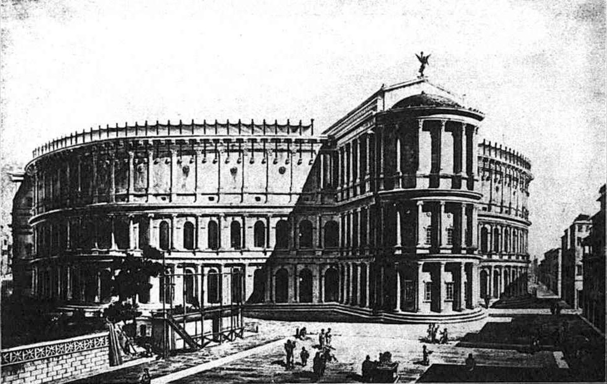 Artist rendition of the Theatre of Pompey.
