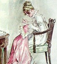 English: Fanny sewing (detail from File:Mp-Bro...