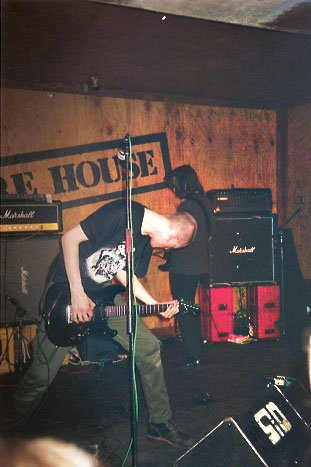 Broadrick performing with Godflesh in 1992 Godflesh Wherehouse 2.jpg