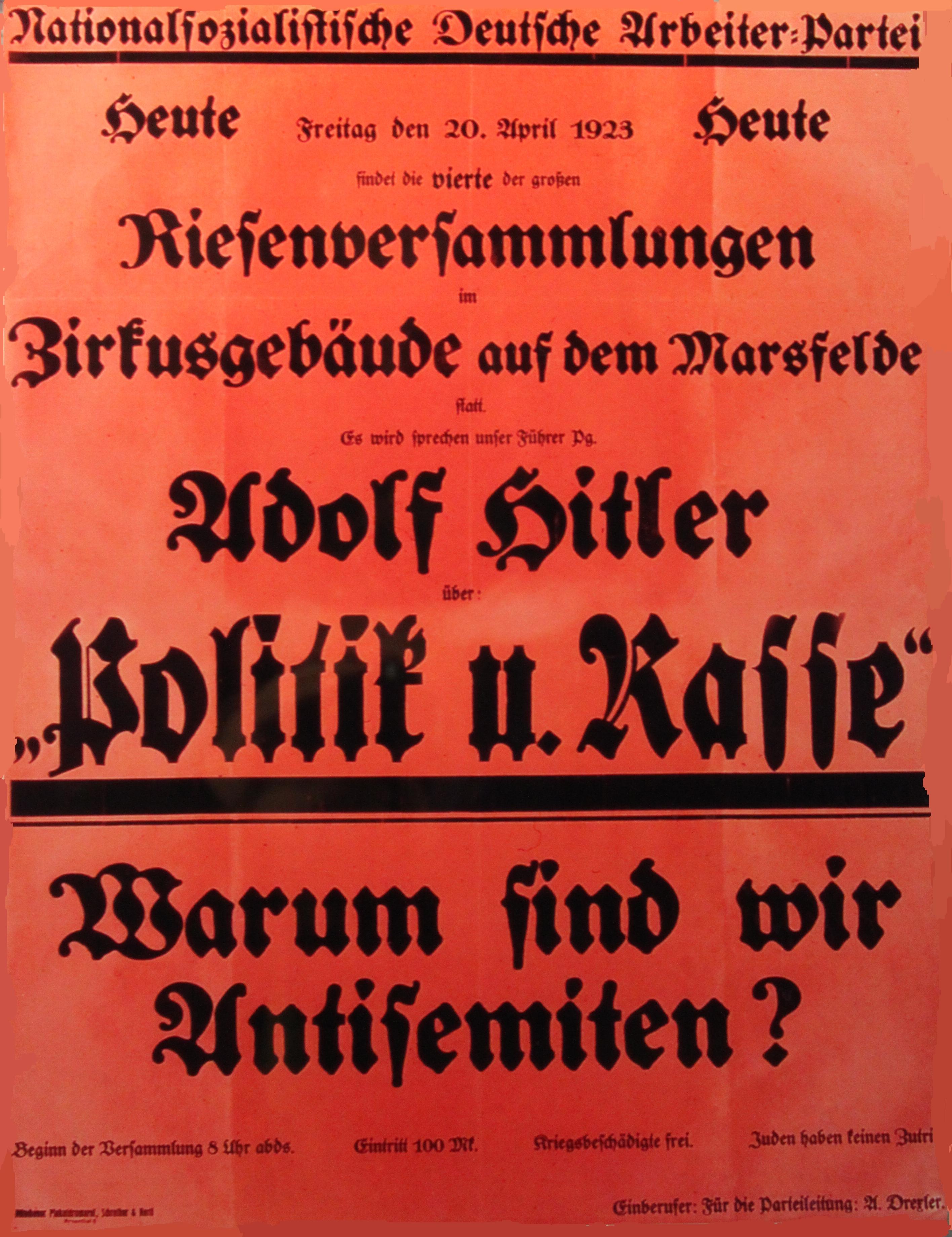 """Einladung zu einer NSDAP-Veranstaltung in München, April 1923: """"Es wird sprechen unser Führer Pg. Adolf Hitler"""""""