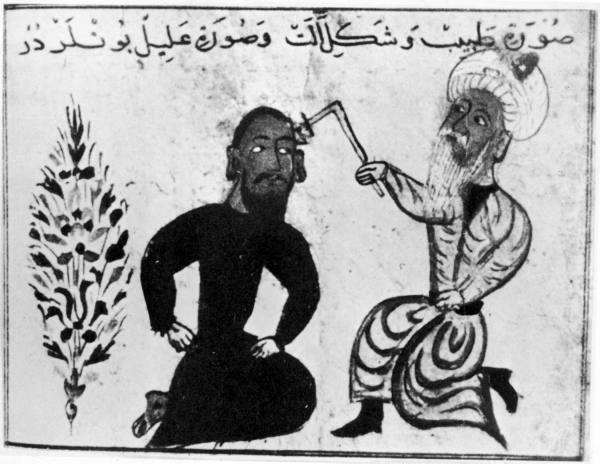 Illustration of medieval Arab doctor treating a patient by cauterizing a wound