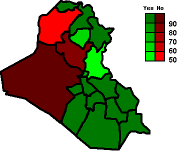 Map of the Iraqi constitution ratification referendum