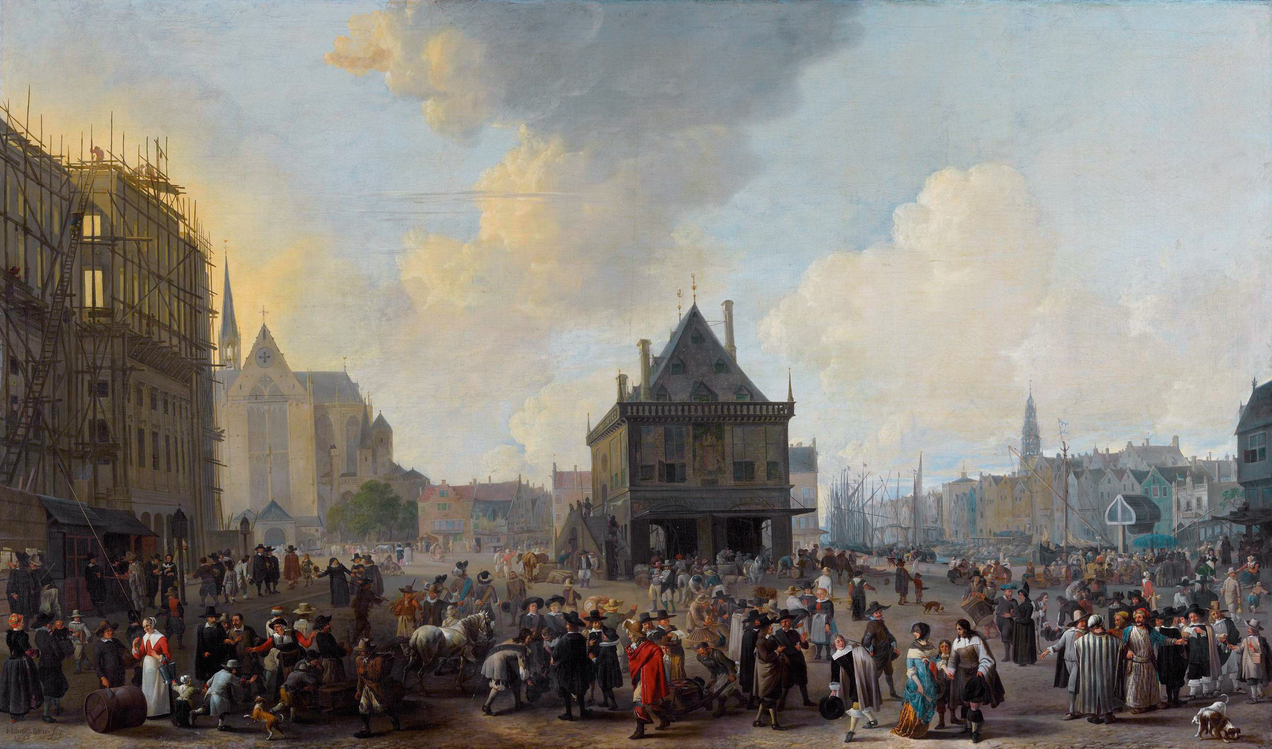 Resultado de imagem para Dam Square with the New Town Hall under Construction (1656) by Johannes Lingelbach.