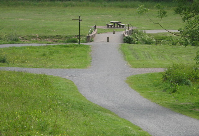 Junction of several paths in Cuerdon Valley - geograph.org.uk - 1385008