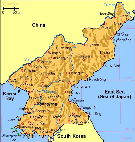 北朝鮮領地勢略図