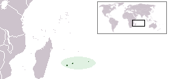Location of Mascarene Islands in the Indian Ocean