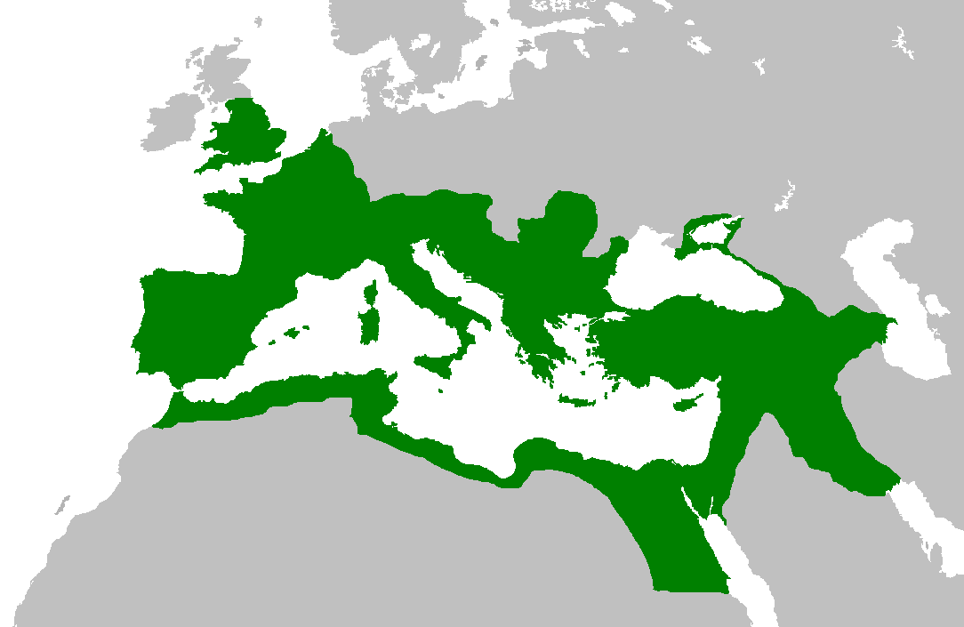 The Roman Empire at its greatest extent under the rule of Trajan, c. 117.