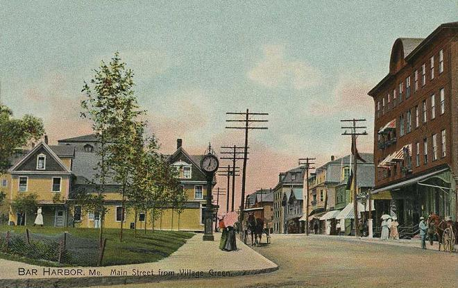 Main Street of Bar Harbor, Maine in 1908.
