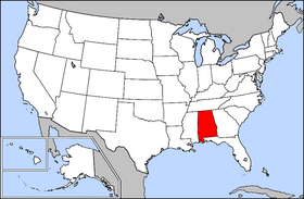 Mapa ning United States with Alabama highlighted