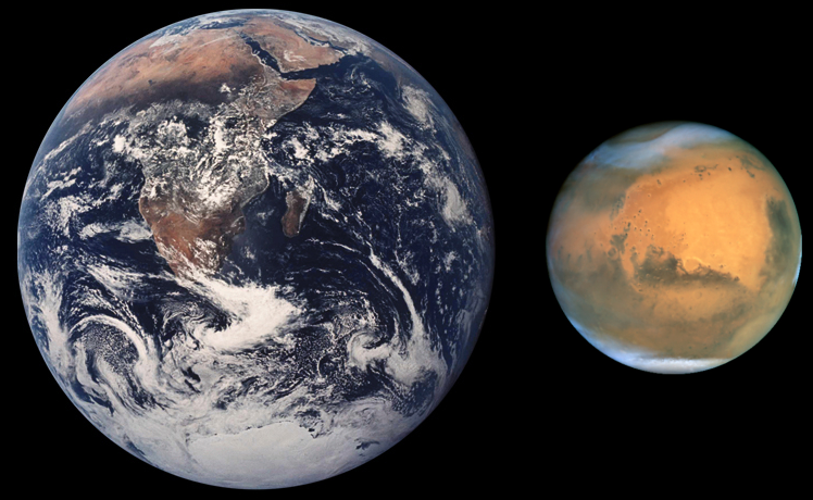 Description mars earth comparison