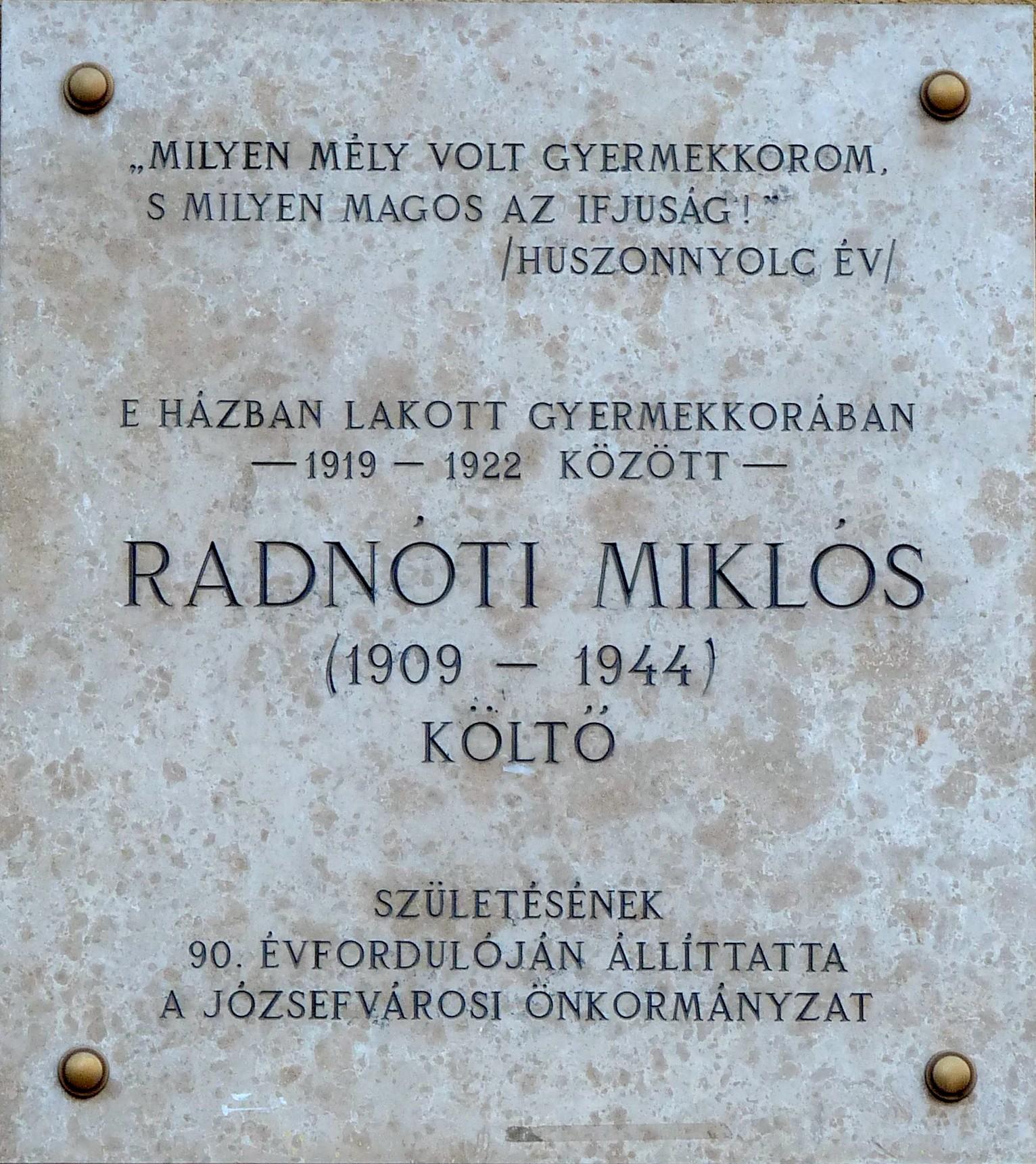 Miklos Radnoti Poems File Mikl s Radn ti Plaque