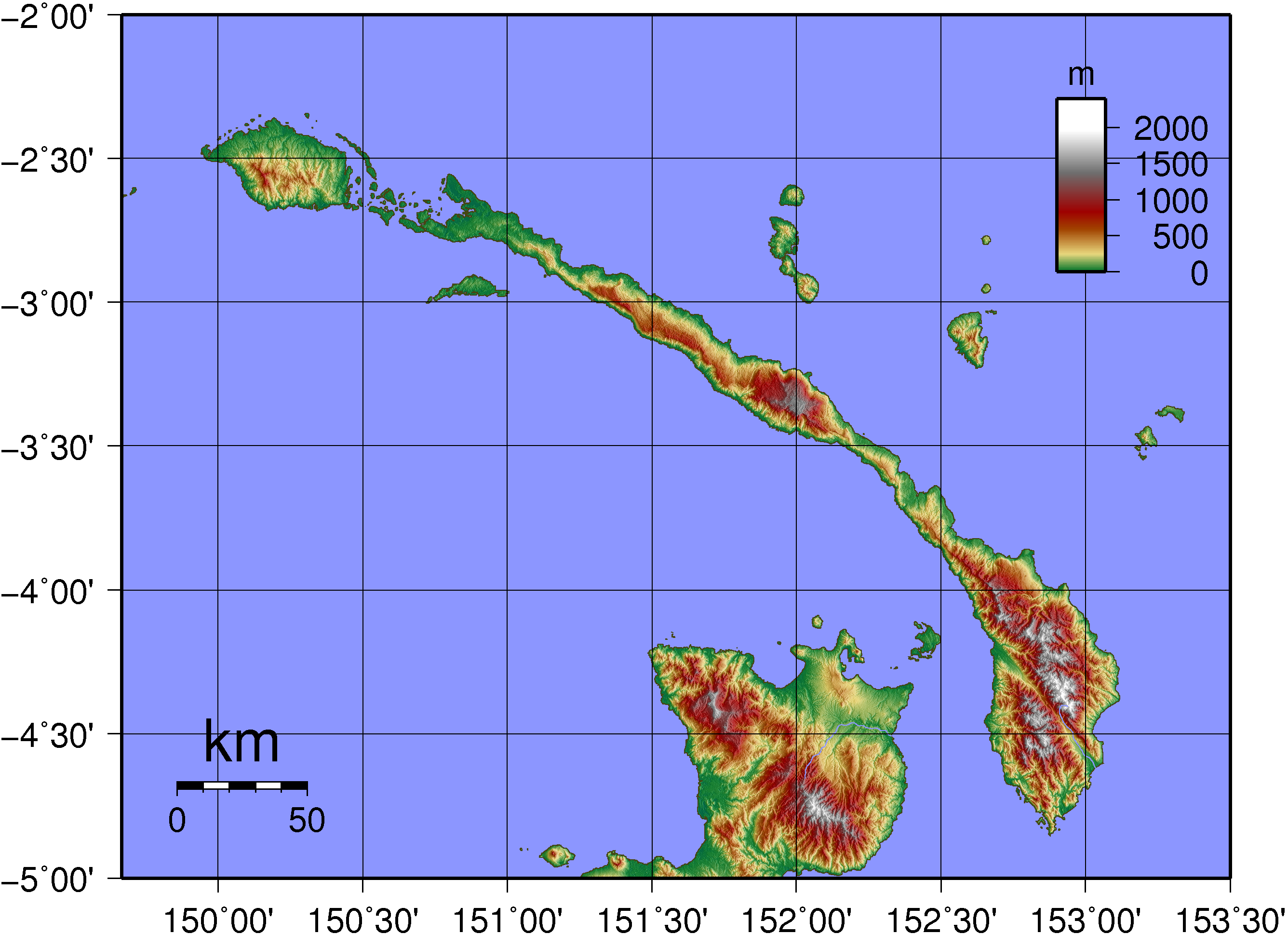 Topographic map of New Ireland in Papua New Guinea.