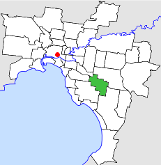 Location of the City of Oakleigh within Melbourne.