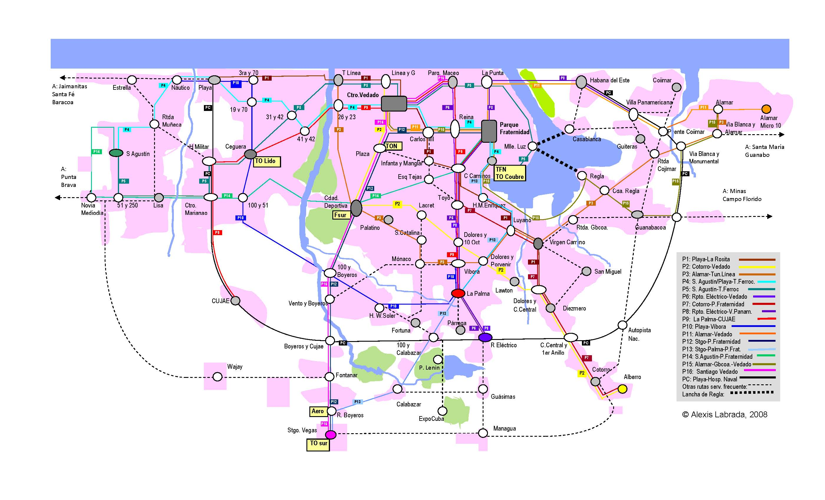 Plano rutas del MetroBus de La Habana Куба: виза, деньги, транспорт, посольства, безопасность