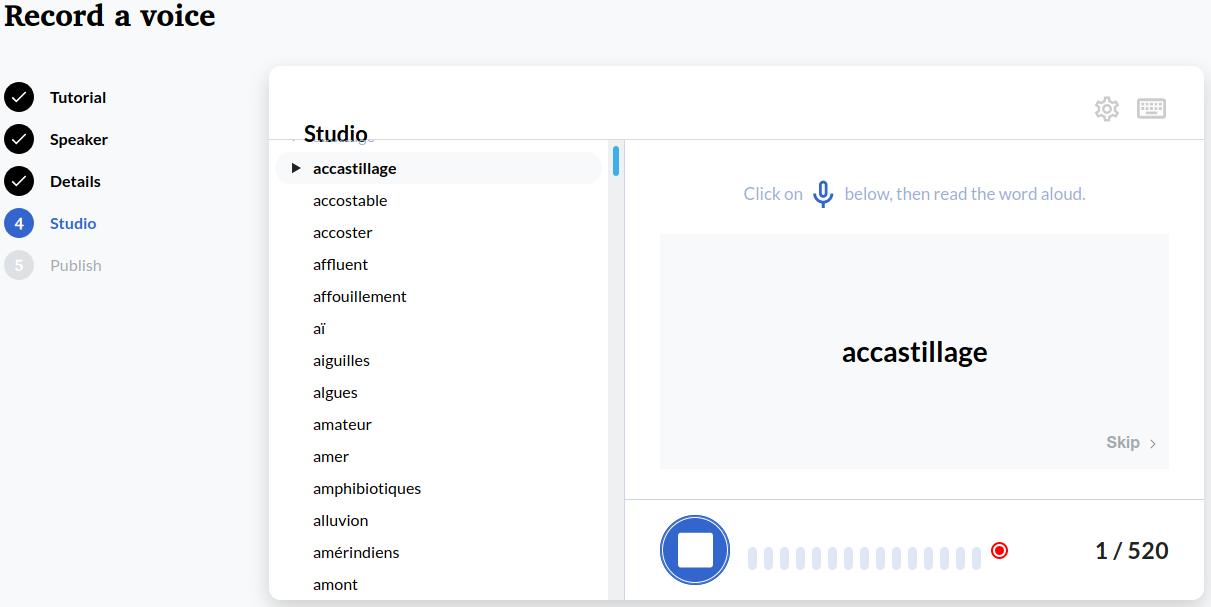 Screenshot of a word recording on Lingua Libre