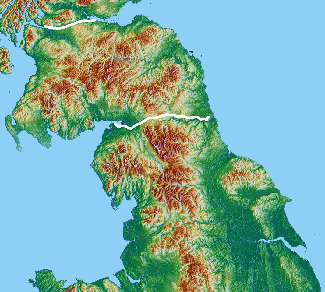 FileRomanBritainnortherntopowithwallsjpg Wikimedia Commons - Topographic map of united kingdom