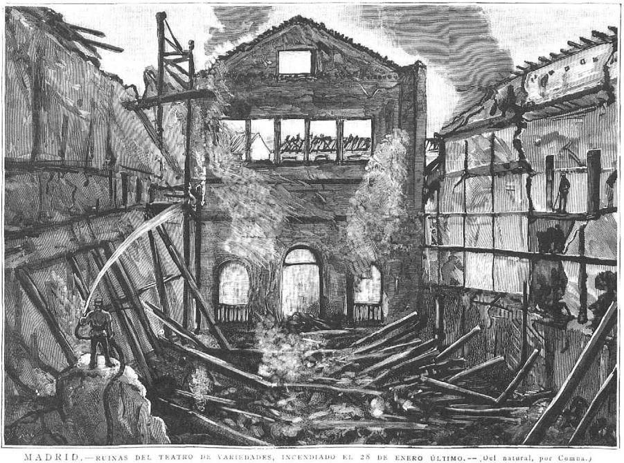 Ruinas del teatro Variedades; dibujo del natural por Juan Comba, publicado en La Ilustración Española y Americana el 8 de febrero de 1888.