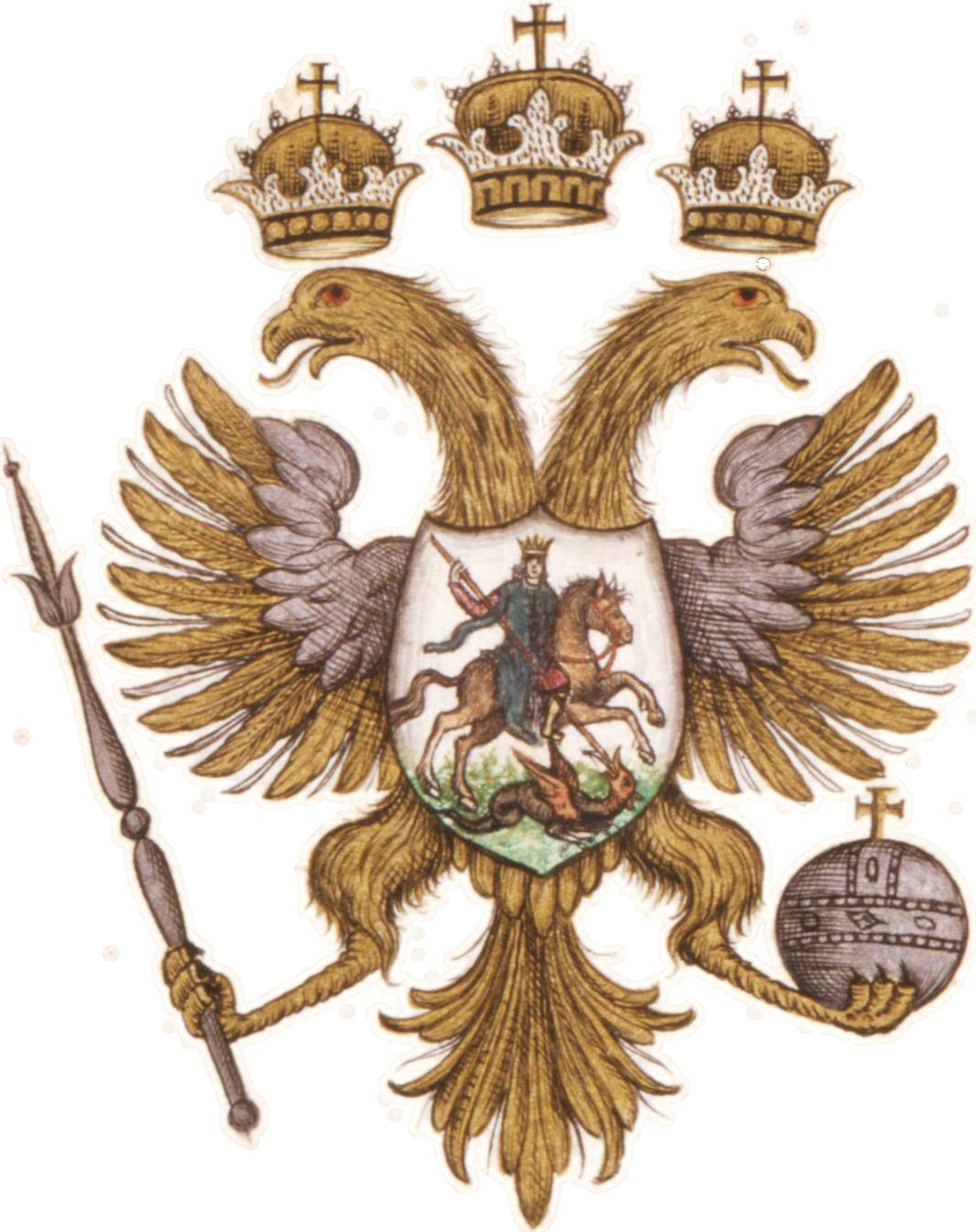 trzy korony, orzeł złoty, godło, Rosja carska, heraldyka, symbolika