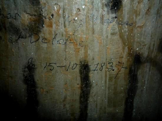Abri du Gros Bois: graphiti dans souterrain