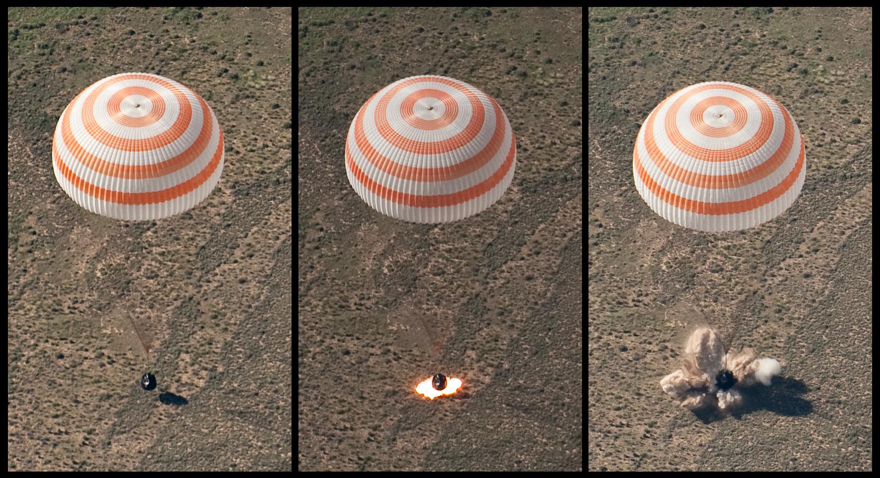 upload.wikimedia.org/wikipedia/commons/2/2a/Soyuz_TMA-17_retro-rockets_firing_during_landing.jpg