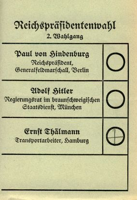 2. Wahlgang zum Reichspräsidenten