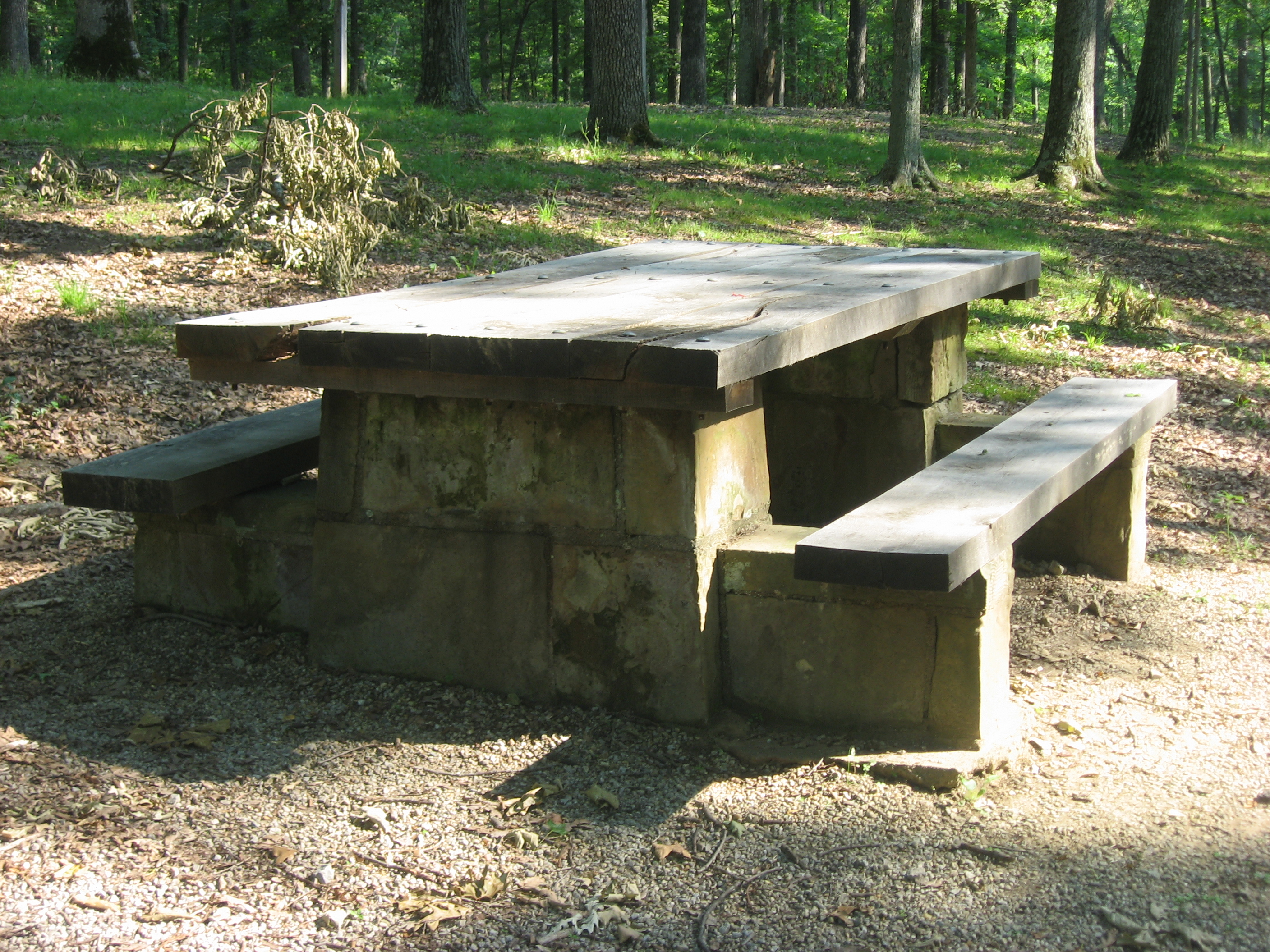 Description Stone picnic table in the CCC picnic grounds at Jackson ...