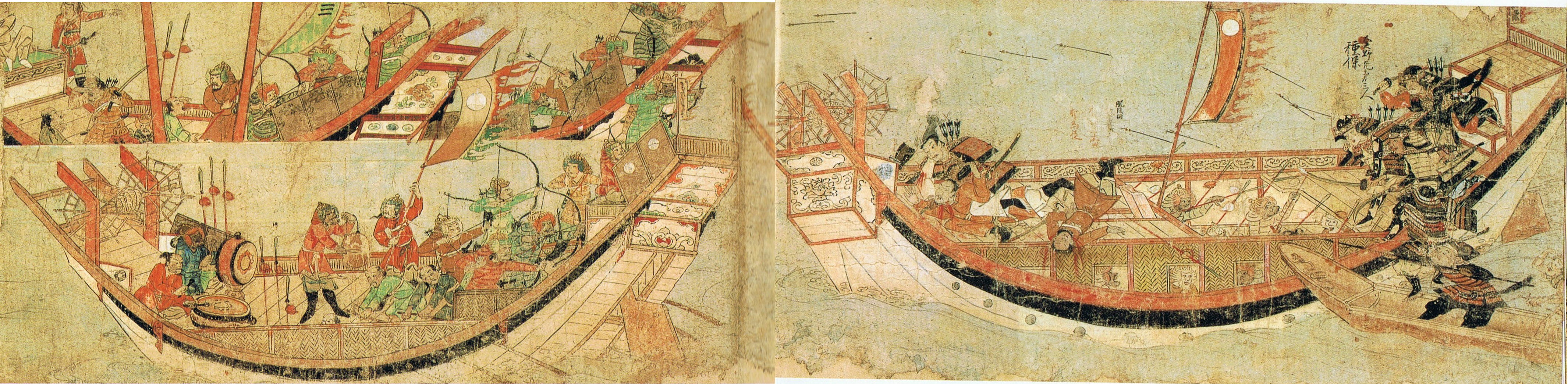Japanese samurai boarding Yuan ships in 1281 (Wikimedia Commons)