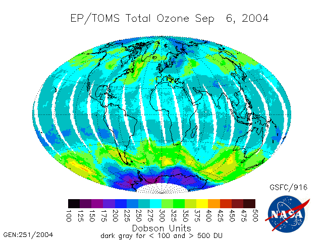 Satellite map of total ozone from September 6, 2004. Note that the total ozone amount is greater at midlatitudes than it is in the tropics