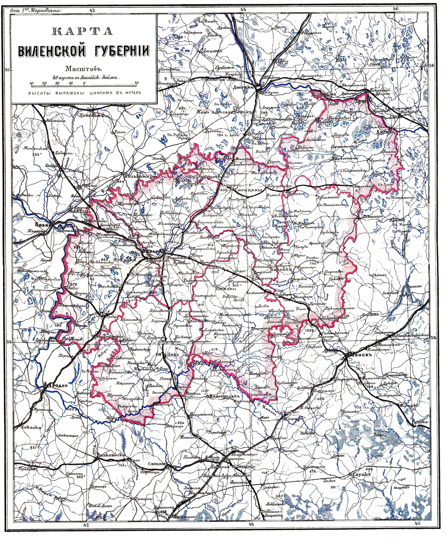 Karte des Gouvernements Wilna